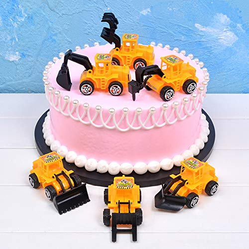 Car Gifts for Cake Toppers Vehicle Dolls Cake Decorations Truck Cupcake Toppers for Kids Birthday Party Favors Baby Shower Excavator Roller Car Toys Bedroom Decoration Accessories DIY Handmade Craft