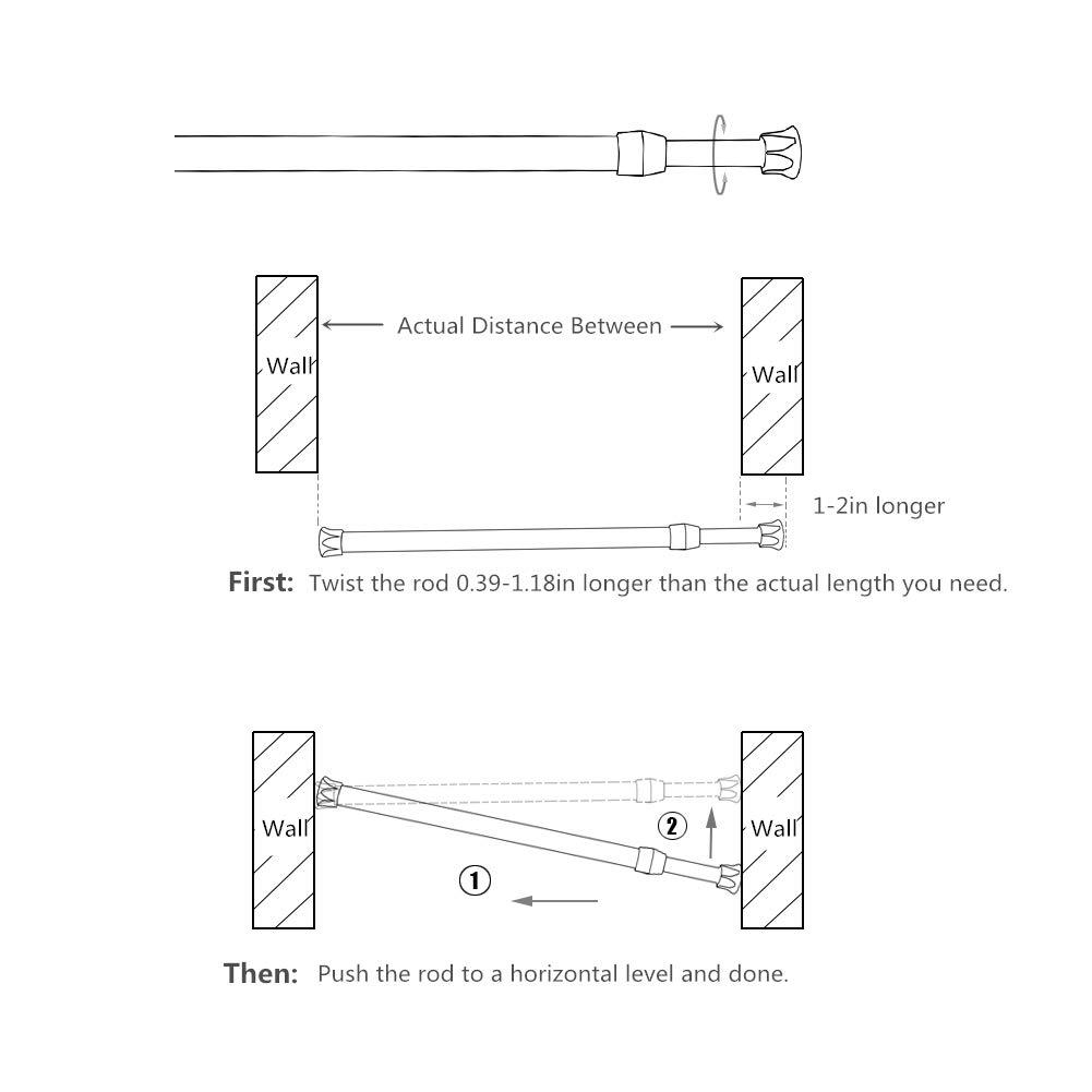 Black,11.8-19.6 in GIDIBII Spring Curtain Tension Rod Adjustable Extension Rod for Window,Cupboard,Closet