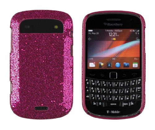 Hot Pink Sparkles Case for BlackBerry Bold Touch 9900, 9930 (AT&T, Verizon, Sprint, T-Mobile) - DandyCase Retail Packaging - Includes Screen Cleaner Cloth