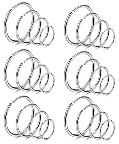 (LOYALLOOK 18Pcs 20G 316L Stainless Steel Nose Ring Hoop Cartilage Hoop Septum Piercing 6-12mm (G:24PCS Silver Tone))