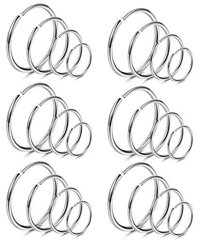 LOYALLOOK 18Pcs 20G 316L Stainless Steel Nose Ring Hoop Cartilage Hoop Septum Piercing 6-12mm (G:24PCS Silver Tone) ()