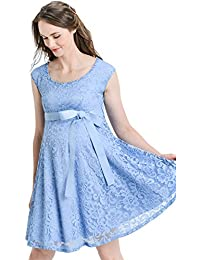 Maternity Floral Lace Baby Shower Party Cocktail Dress with Ribbon Waist d14bb4799