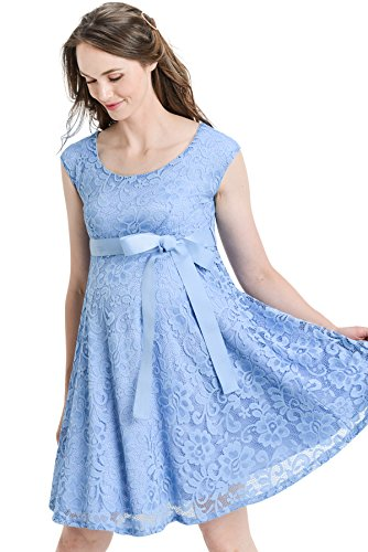 Hello MIZ Floral Lace Baby Shower Party Cocktail Dress with Satin Waist Maternity Dress (Large, Sky Blue) by Hello MIZ