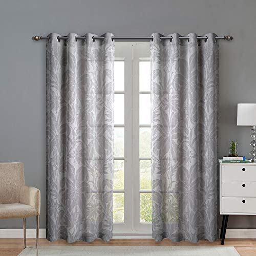 SINGINGLORY Jacquard Semi Sheer Curtains Grommet Textured Grey Window Sheer Drapes for Bedroom and Living Room, Set of 2 (52 x 84 Inch, Palm Leaves) (Jacquard Panel)
