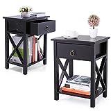 LAZYMOON Set of 2 Wood Nightstand Table X-Design Sofa End Side Table Kids Room Furniture Black Finish