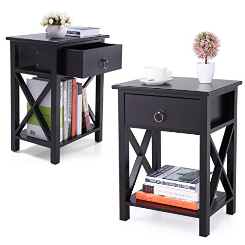 Black Storage Bedroom Sets (LAZYMOON Set of 2 Wood Nightstand Table X-Design Sofa End Side Table Storage Shelf w/ 1 Drawer, Black Finish)