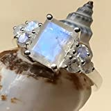 Genuine Emerald Cut Rainbow Moonstone 925 Solid Sterling Silver Estate Ring 6, 7, 8, 9