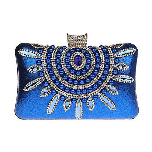 KAXIDY Bolso de Mujeres Bolso de Noche Fiesta Embrague Bolso Bolsos de Mano Cartera Mano Fiesta azul