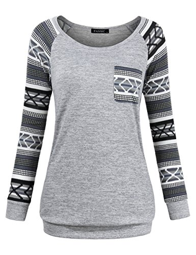 FANSIC Patchwork Shirts for Women, Juniors Long Raglan Sleeve Shirts Lightweight Patchwork Hipster Chic Business Casual Clothes Knitted Sweater with Pocket Medium Gray