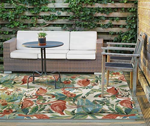 WAVERLY SND75 Sun N Shade Multicolor Flamingo Indoor-Outdoor Rug 5'3