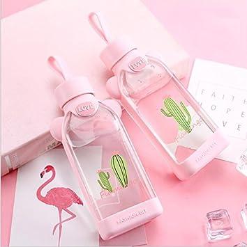 Botella De Cristal Cristal - Cantimplora Con Funda Planas Botella De Agua Para Niños Student Escolar Niña Color Rosa Cristal Botella BPA Libre Bonito Diseño Flamencos Con Carcasa Para Oficina Aula 350: