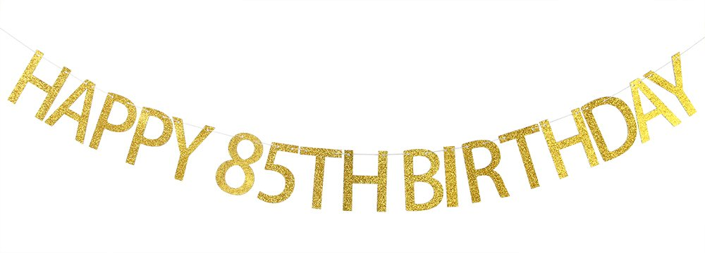 Amazon Happy 85th Birthday Banner Gold Glitter Party Bunting
