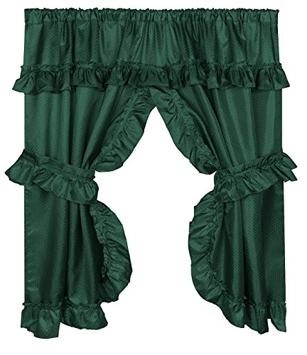 Diamond Dot Ruffled Fabric Bathroom Window Curtain With Attached Valance and Tiebacks - Evergreen ()