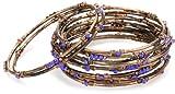 Chamak by priya kakkar 12 Copper Metal with Blue Crystal Bangle Bracelet