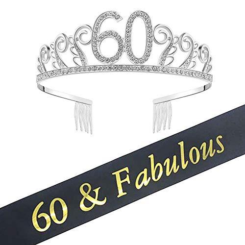 (60th Birthday Decorations Party Supplies Birthday Tiara and Sash Black Glitter Satin Sash and Crystal Tiara Birthday Crown for 60th Birthday Party Supplies and Decorations 60th Birthday Cake)
