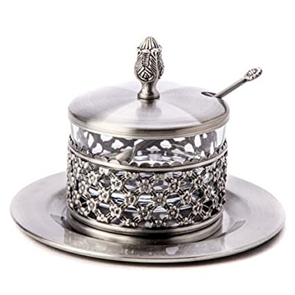 Rosh Hashanah Honey Dish. 4 Piece Silver Plated Honey Dish. Great Gift for: Yom Kippur Rosh Hasana Shabbat Purim Sokot Simchat Torah Hanukkah Passover Lag Baomer Shavuot Rabbi Temple Chupah Wedding Housewarming Bar Mitzvah Bat Mitzva And Jewish Homes