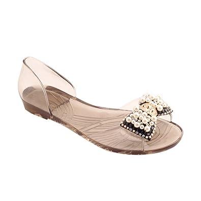 3e2d88d64 Omgard Women Sandals Summer Ribbon Bow Peep Toe Jelly Shoes Beach Sandal  Flat Shoes for Woman