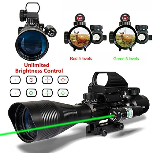 JOKDEER C4-16X50 AR15 Rifle Scope Dual Illuminated Reticle Red&Green Laser and Tactical Holographic Dot Sight(2 Year Guarantee) (4-1250scope +H104(red dot)+ JG13(red laser))