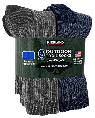 Kirkland Signature Mens 6 Pack Merino Wool Blend Trail Socks Grey/Navy (Large - Shoe Size 10-13)