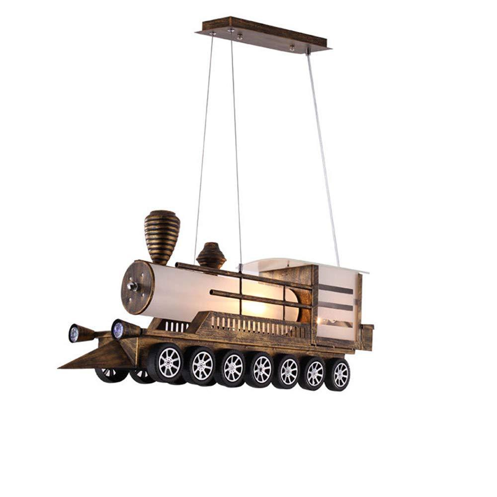 WLBRIGHT Vintage Copper Lokomotive Kronleuchter Büro Kinderzimmer Bar Dekoration Kronleuchter 2 Lichter