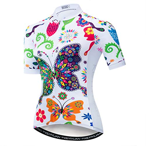 Uriah Women's Cycling Jersey Short Sleeve with Rear Zippered Bag Reflective Butterfly Size ()