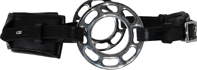 Reitsport Amesbichler AMKA Hackamore en cuir r/églable sur 3 positions Rembourrage en cuir sans morsure avec roue