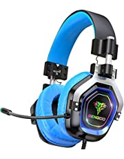 BENGOO Gaming Headset Headphones with Mic for PS4, Xbox One, PC, Controller Games, Over Ear Headphones with 4 Speaker Drivers and RGB Light, Adjustable Comfortable Protein Earmuff, Bass Surround for Nintendo