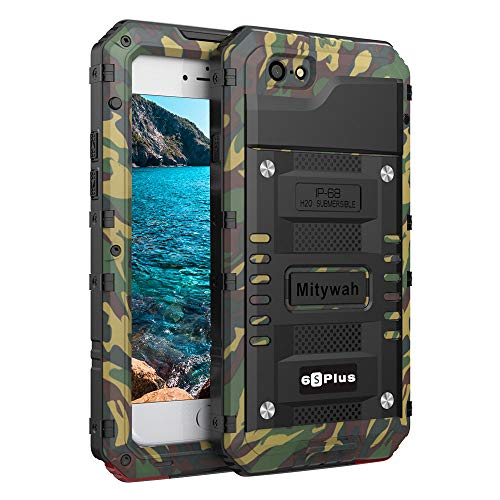 Mitywah iPhone 6 Plus/iPhone 6S Plus Case Heavy Duty Durable Metal Full Body Protective Case Built-in Screen Protection Waterproof Shockproof Dustproof Rugged Military Grade Defender, Camouflage