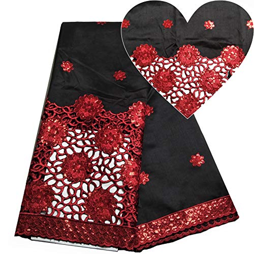Nigerian Lace George Fabrics Silk Dresses for Women Black&Red George Lace Fabric African Sequins Lace Fabric ()