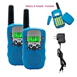 Walkie Talkies Set for Kids,Hand Held Twin T-388 Walkie Talkie 3 KM Long Distance,22 Channel 2 Way Radio Walkie Talkies Transceiver Toy with Flashlight& Rechargeable Batteries for Children Gifts,Blue