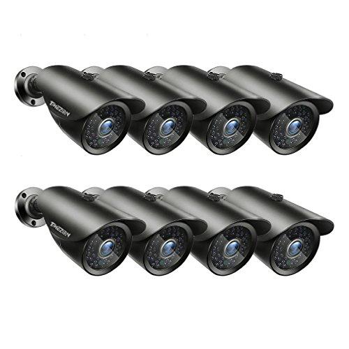 TMEZON 8 Pack OSD Security Bullet Camera HD 1080P 2.0MP 4-in-1 AHD/CVI/TVI/CVBS 3.6mm Lens Waterproof Outdoor Surveillance Camera