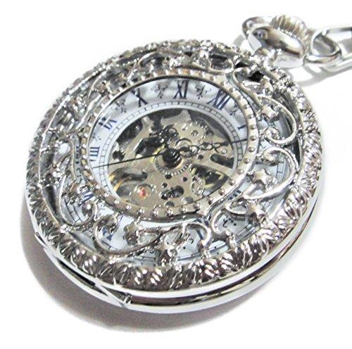 - Steampunk Snow Freeze Stars Mechanical Pocket Watch - Antique Silver - Blue Roman Numerals Dial