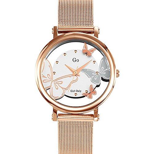 GO Girl Only 695037 - Reloj de Mujer, Movimiento de Cuarzo, analógico, Esfera Plateada, Correa de Acero Rosa: Amazon.es: Relojes
