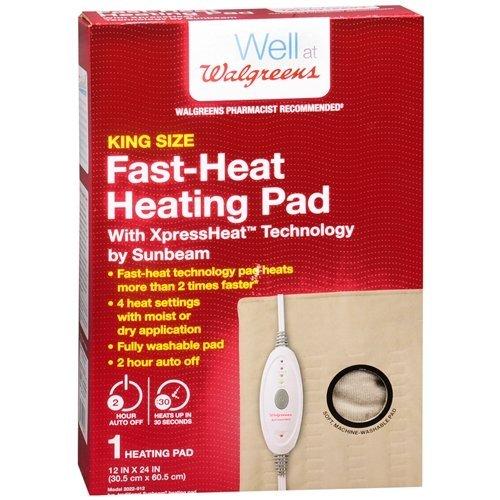 Walgreens King Size Fast-Heat Heating Pad, 12 inch x 24 inch