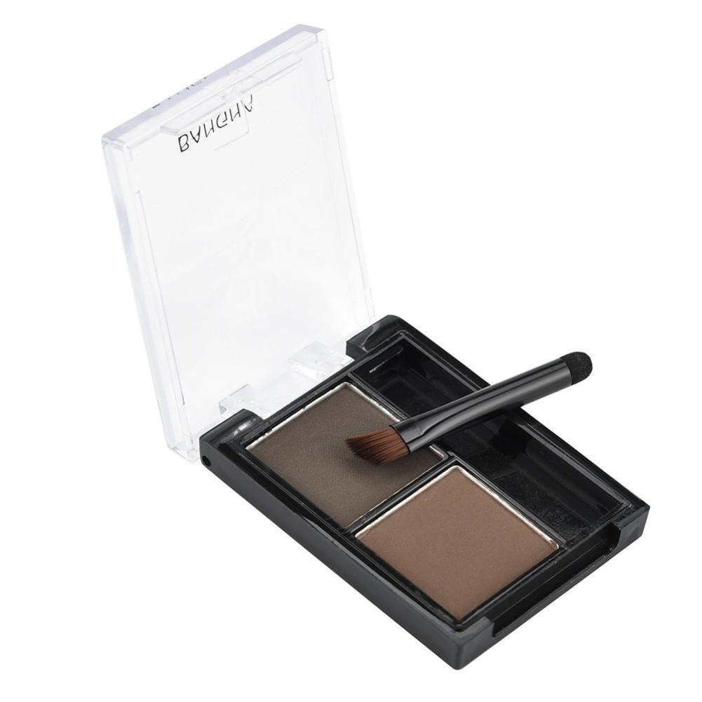 Baomabao 2 Colors Eyebrow Powder Palette Waterproof Beginners Waterproof Sweat Eyes Beauty Makeup (A)
