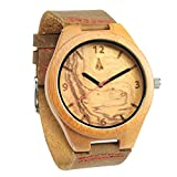 Treehut Mens Wooden Olive Ashe Bamboo Watch with Genuine Brown Leather Strap ...