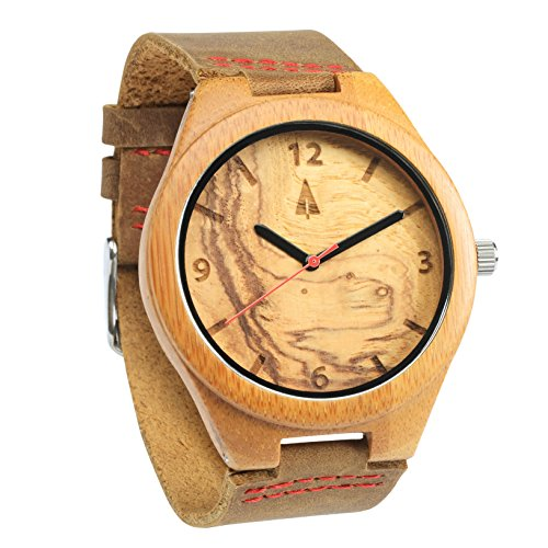 Treehut Mens Wooden Olive Ashe Bamboo Watch with Genuine Brown Leather - Sport Black Junior Dial