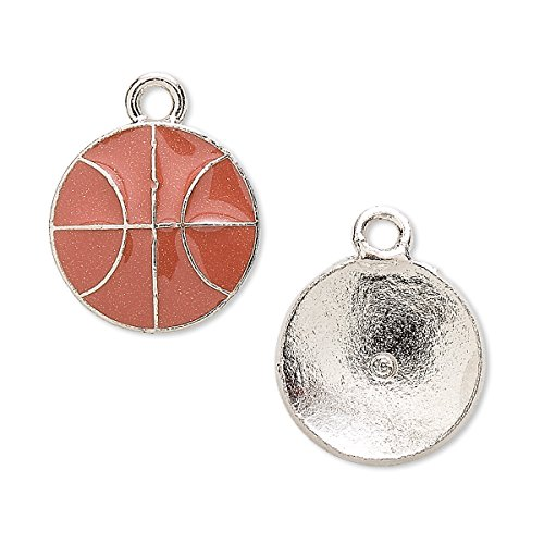 - Charm antiqued pewter (tin-based alloy) and enamel 17mm basketball-H20-7113FN