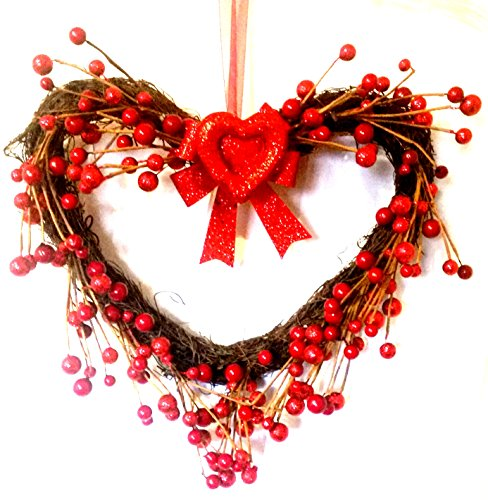 UPGRADE TO PRIORITY SHIPPING Heart Wreath, Valentines Day Heart Wreath, Holiday Wreath, Berry Wreath Grapevine Wreath Door Wreath Wall Wreath Hanging Decoration Heart Shaped - Whens Valentimes Day