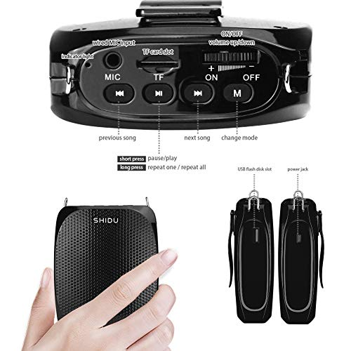 Portable Voice Amplifier SHIDU Personal Speaker Microphone Headset Rechargeable Mini Pa System for Teachers Tour Guides Coaches Classroom Singing Yoga Fitness Instructors (Black)