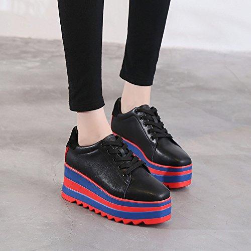 KHSKX-Plaza De Otoño Coreano Zapatos De Plataforma Y Zapatos De Cuero Zapatos De Moda Pendiente Con Cordon Blanco Zapatos De Tacon Alto Daily black