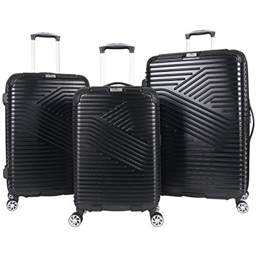 Ben Sherman Bangor 3-Piece Lightweight Hardside PET 8-Wheel Spinner Expandable Luggage Set 20 Carry-On, 24 , 28 Suitcase Set, Black
