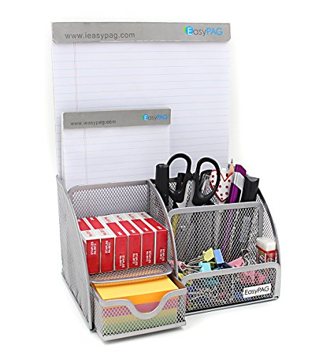 Office Desk Supplies Organizer Caddy Silver