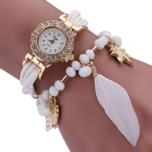 AMA(TM) Women Fashion Wrap Around Crystal Beads Bracelet Weave Chain Watch (White) Crystal Weave Bracelet