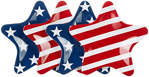 Gourmet Art 4-Piece Fourth of July Patriotic Star Melamine 8 Inch Plates, for Pasta, Pastry, Desserts, Salad and Fruits, Top Rack Dishwasher Safe