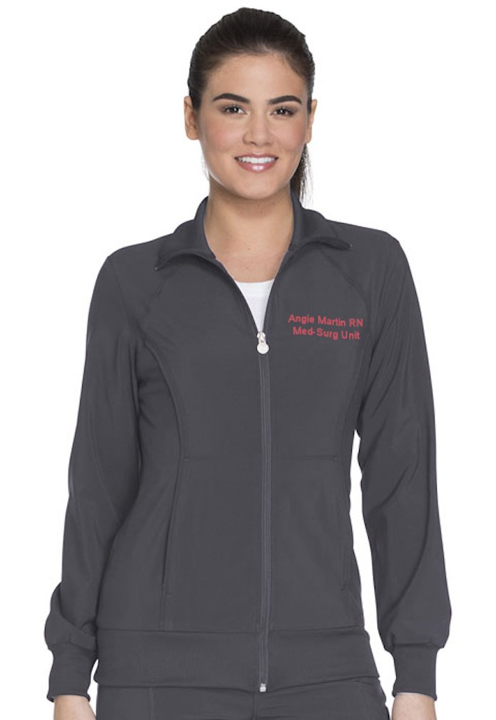 Embroidered Cherokee Women's Infinity Zip Front Warm-up Jacket (Style 2391A, Pewter, XL)