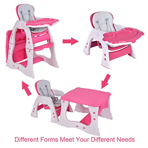 Costzon 3 in 1 Baby High Chair Desk Convertible Play Table Conversion Seat Booster (Pink) by Costzon (Image #1)