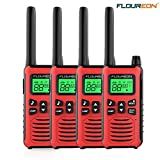floureon Walkie Talkies for Adults 4 Pack Long Range Two Way Radio 22 Channel 3000M (MAX 5000M Open Field) USB Cable Charging Walkie Talkies for Outdoor Adventures Camping Hiking(Red)
