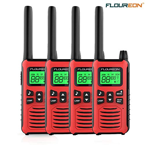 floureon Walkie Talkies for Adults 4 Pack Long Range Two Way Radio 22 Channel 3000M (MAX 5000M Open Field) USB Cable Charging Walkie Talkies for Outdoor Adventures Camping Hiking(Red) ()