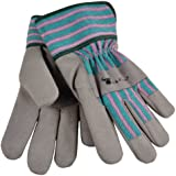 G & F 5009M JustForKids Synthetic Leather Kids Garden Gloves, Work Gloves, Grey, 4-6 years old
